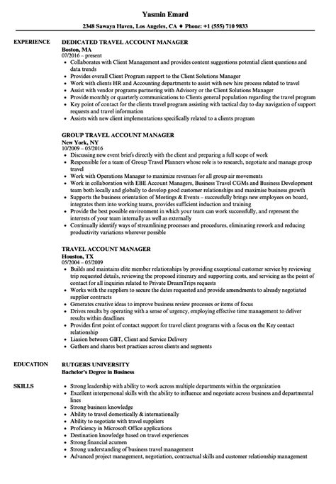 Travel Account Manager Sle Resume by Travel Account Manager Resume Sles Velvet