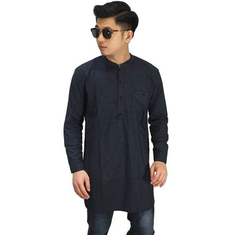 Busana Pria Kemeja Pendek Oxford Basic Black Kp025 baju koko kurta gamis navy baju muslim pakistan
