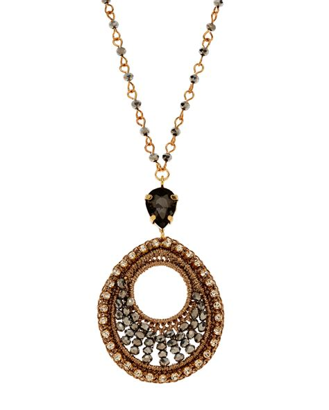 Circle Necklace lyst saachi circle pendant necklace in metallic
