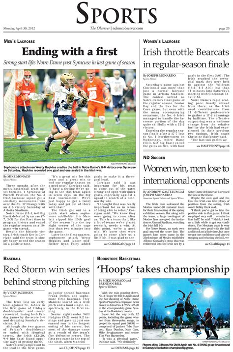 sports section of a newspaper notre dame s observer newspaper launches redesign