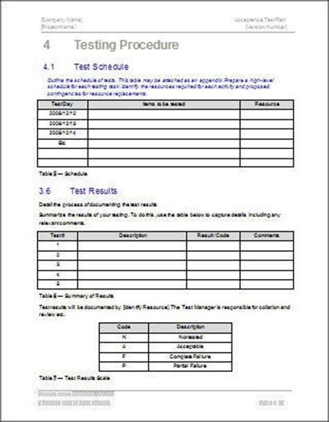 test procedure template word acceptance test plan template ms word instant