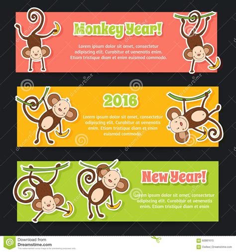 new year year of monkey craft banner set for new year 2016 year of the monkey stock
