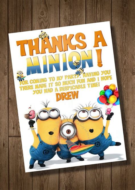 minion thank you cards template despicable me thank you card to match despicable me