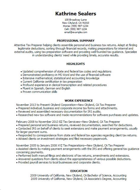 Professional Resume Preparation by Professional Tax Preparer Templates To Showcase Your