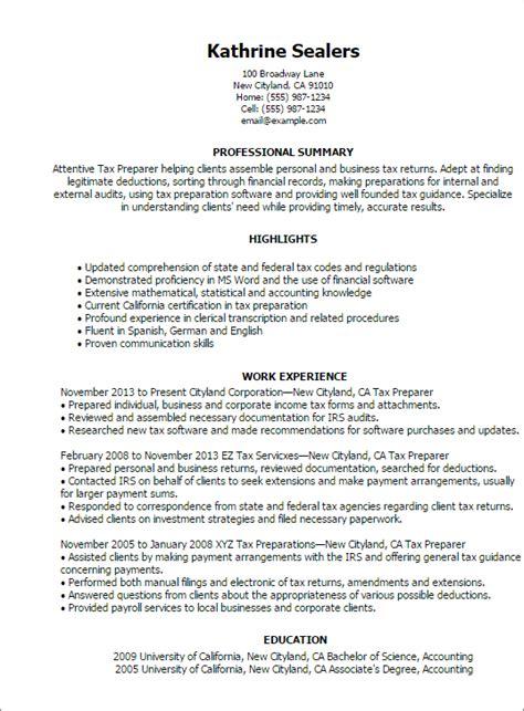 100 tax preparer description for resume tax preparer 1 tax preparer resume templates try them now