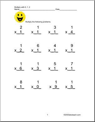 Multiplication Worksheets 0 2 by Multiplication By 0 1 And 2 Worksheet Abcteach