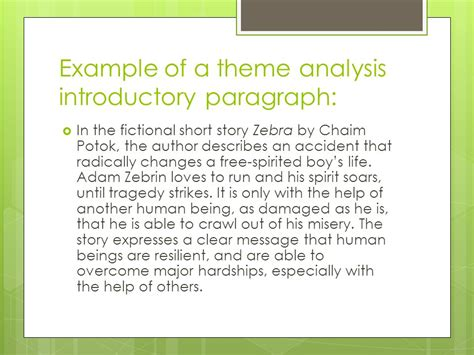 themes analysis story the response to literature essay theme analysis ppt video
