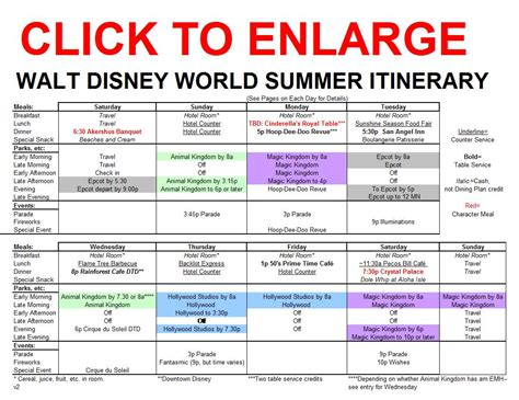 disney world itinerary template a new summer itinerary for