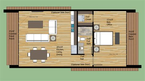Small House Plans Under 700 Sq Ft by Modern Style House Plan 1 Beds 1 Baths 700 Sq Ft Plan 474 8