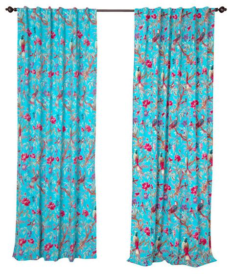 bird print curtains cotton bird print panel turquoise 96 quot transitional