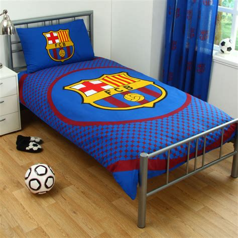 fc barcelona bedding fc barcelona barca football blue kids reversible duvet quilt cover bedding set ebay
