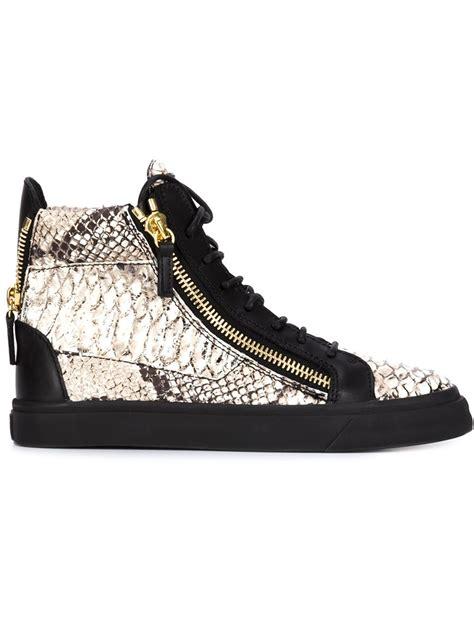 snakeskin giuseppe sneakers lyst giuseppe zanotti snakeskin effect hi top sneakers