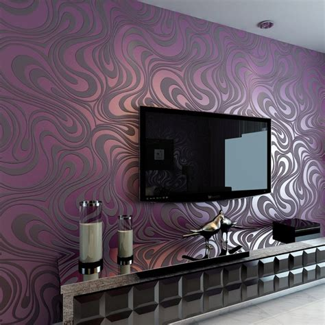 Purple And Silver Bedroom Ideas - high quality modern luxury 3d wallpapers roll mural flocking striped wall paper tv sofa