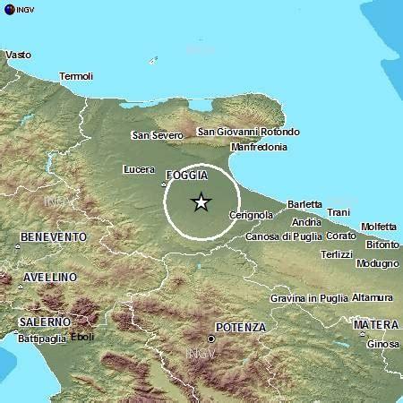 tavoliere delle puglie cartina scossa di terremoto di magnitudo 2 7 a cerignola foggia