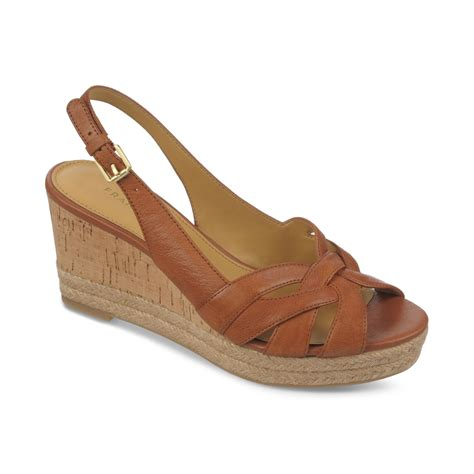 Sendal Wedges Sendal Wanita Ss09 franco sarto kris platform wedge espadrille sandals in brown lyst