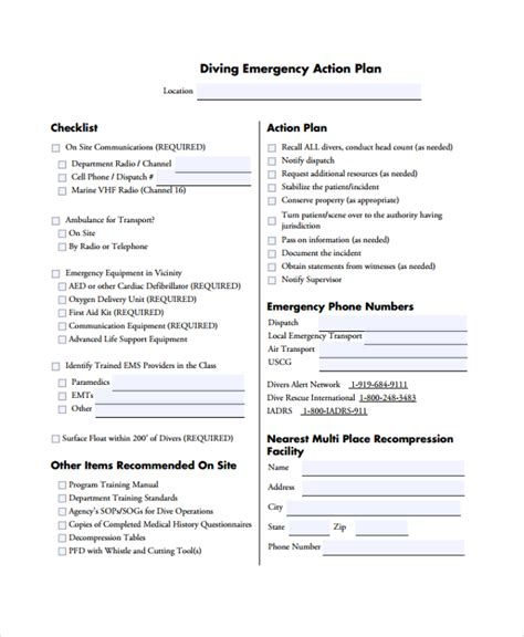padi emergency action plan template gallery templates