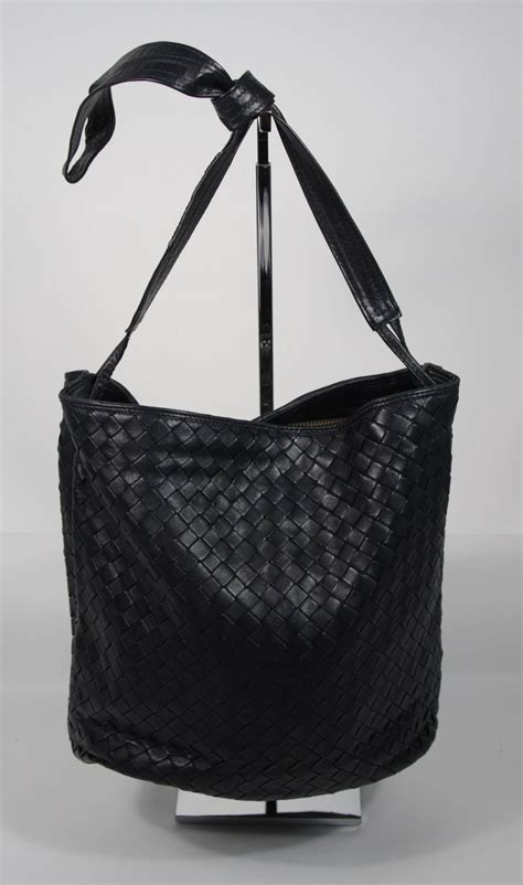 Deal Bottega Veneta Woven Handbag 48 by Bottega Veneta Vintage Navy Woven Leather Style