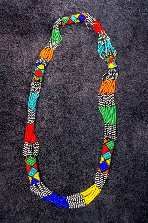 zulu beaded multi strand necklace south ethnic