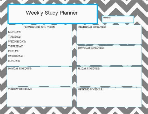 study planner template weekly study planner docx drive great while