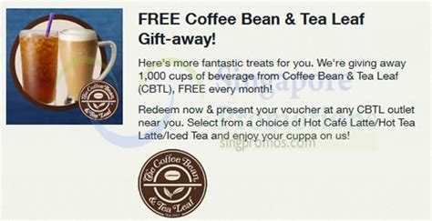 Coffee Bean Gift Card Singapore - fully redeemed coffee bean tea leaf free beverage voucher for singtel customers 9