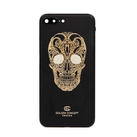 Skull For Iphone 7 matte black gold skull design back cover for iphone 7 plus
