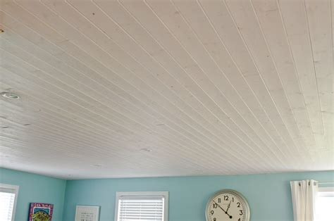 White Wood Ceiling Planks Popcorn Ceilings Be And How Would This White