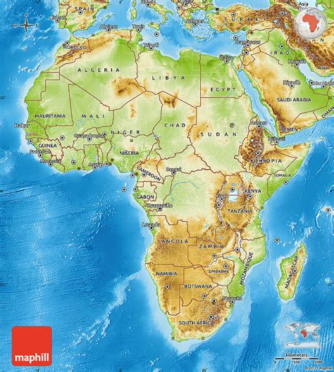physical map of physical map of africa