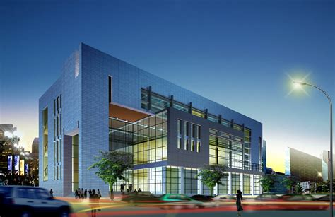 Design And Decoration Building by Evening Mirrored Minimal Modern Office Building With Glass