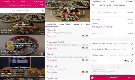 applications gratuites pour se faire livrer  manger sur