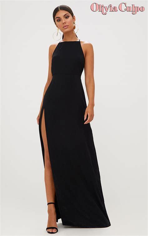 black strappy  detail chiffon maxi dress