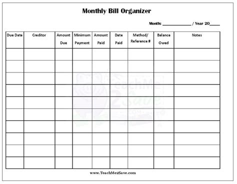 monthly bill organizer template free images template design ideas
