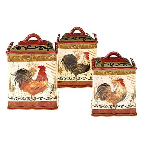 ceramic kitchen canister sets key west 3 piece ceramic certified international tuscan rooster 3 piece canister