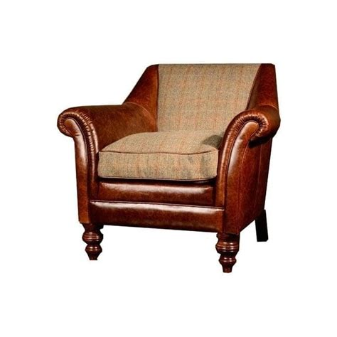 tetrad armchair tetrad dalmore harris tweed armchair in leather at smiths