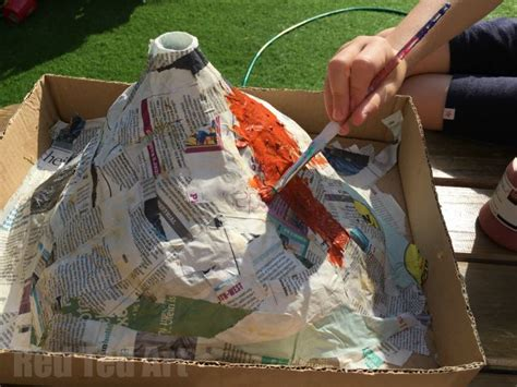 how to make a papier mache volcano for science fair