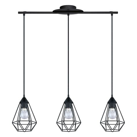 eglo pendant light eglo tarbes 3 light matte black pendant 94189a the home