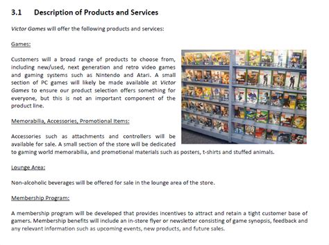 product section business plan products and services section
