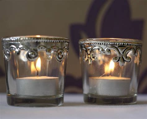 silver tea light lanterns set of two silver and glass tea light holders by the