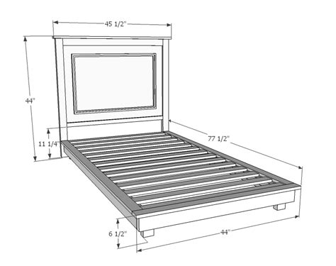 twin bed dimensions ana white fillman platform twin platform bed diy projects