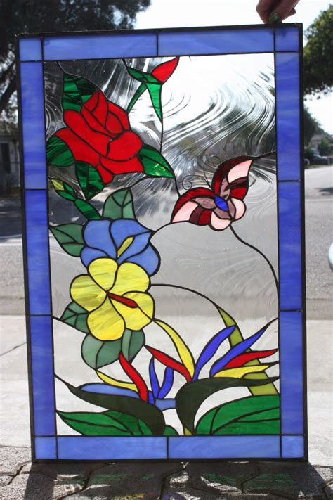 interior  stained glass window panels   antique
