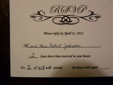how to properly fill out a wedding response card rsvp foolishness sorry for the pics weddingbee