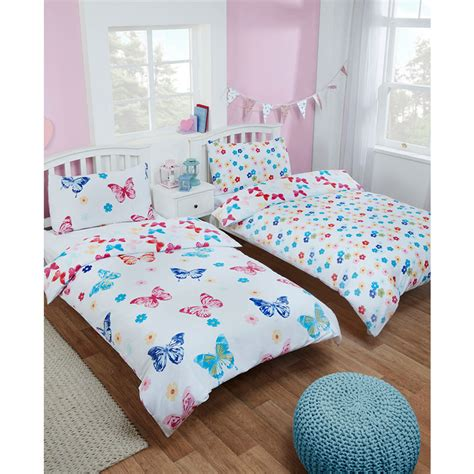 girls single duvet set twin pack butterfly bedding b m