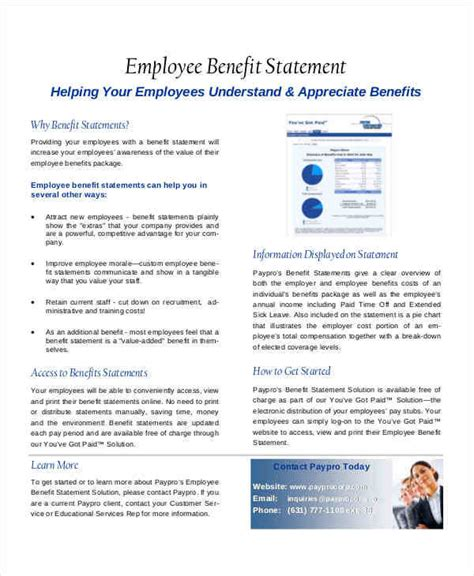 30 Statement Sles Templates Sle Templates Sle Employee Benefit Statement Templates