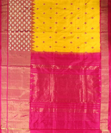geeta pattern works rajkot yellow and pink handloom ikat rajkot silk saree handloom
