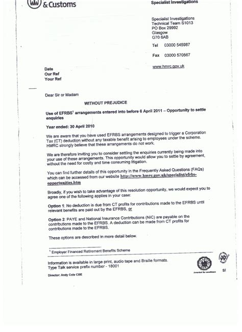 Calderbank Offer Letter Exle Uk Without Prejudice The Tax
