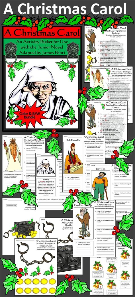 christmas carol activity packet bundle color bw