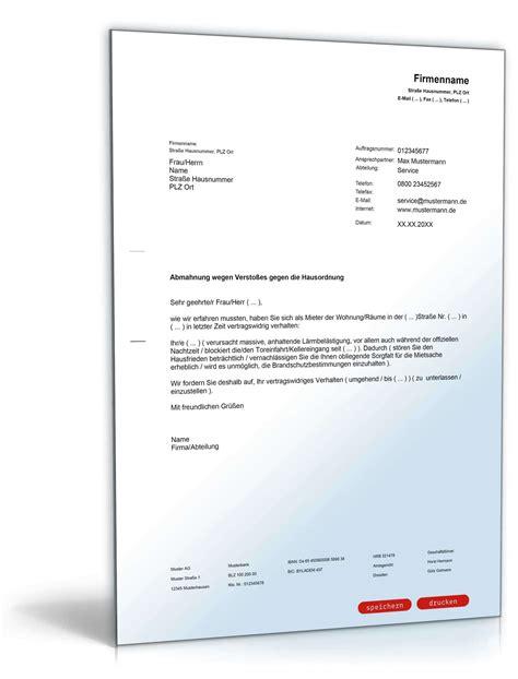 Wohnung Zu Vermieten Vorlage by Abmahnung Mieter Versto 223 Gegen Die Hausordnung Muster