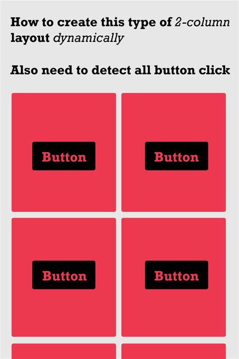 layout column android button how to create 2 column layout dynamically in