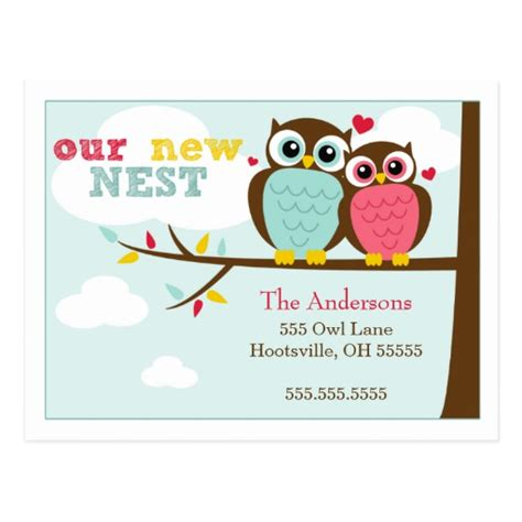 moving home cards template loveable owls moving announcements postcards zazzle