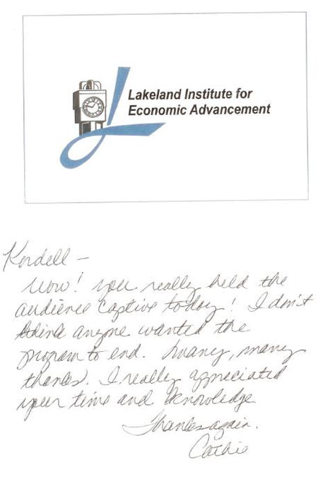 College Letter Of Recommendation Thank You Ordell Norton Thank You Letter From Lakeland College S Institute For Economic Advancement