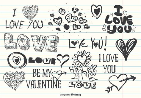 i you doodle assorted doodles free vector